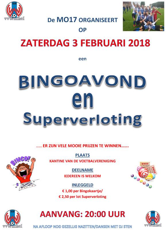 MO17 organiseert op zaterdagavond 3 februari 2018 een Bingoavond en Super Verloting