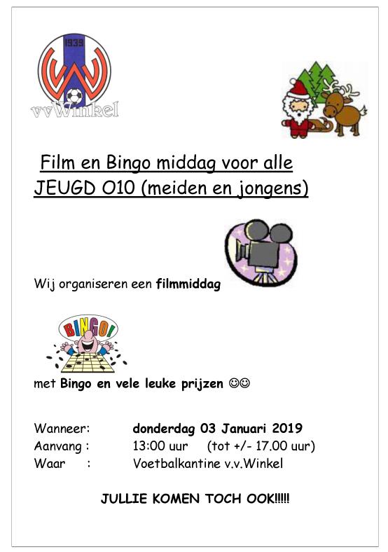 Film en Bingo middag voor alle JEUGD O10 (meiden en jongens)